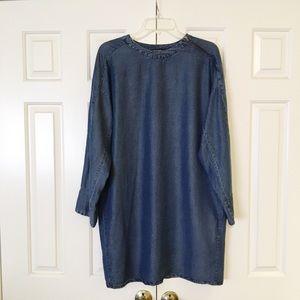 Zara soft blue chambray dress. Large. EUC.
